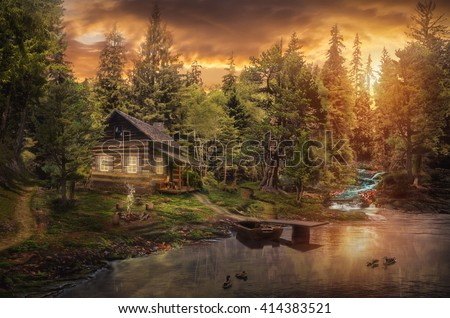 Forester's Cabin by the river in the forest (illustration of a fictional situation, in the form collage of photos) - stock photo