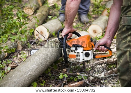 Forestry workers with orange chainsaw - stock photo