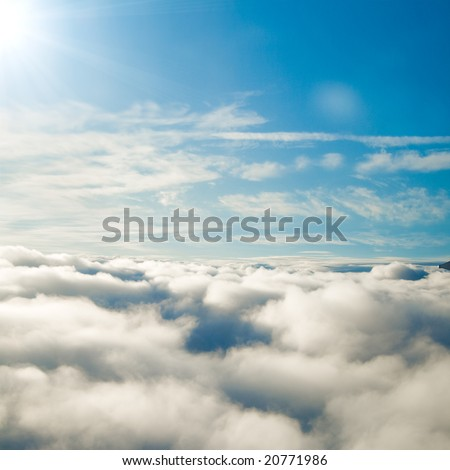 Forever sunshine above clouds! - stock photo