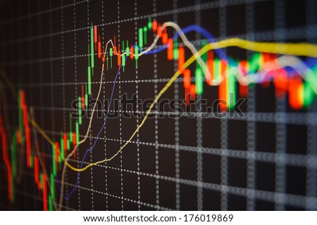 Forex stock trade chart monitor screen. Shallow depth of field photo  - stock photo