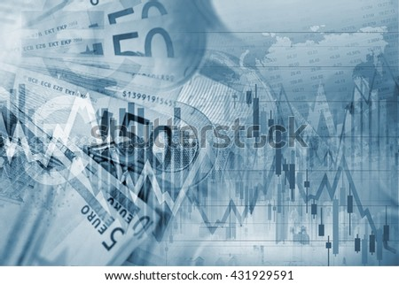 Forex Trading Blue Concept Background Illustration with Forex Graph Stats. - stock photo