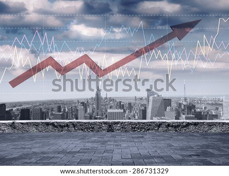 Forex trading concept. Graphs over an amazing view of the business city centre. - stock photo