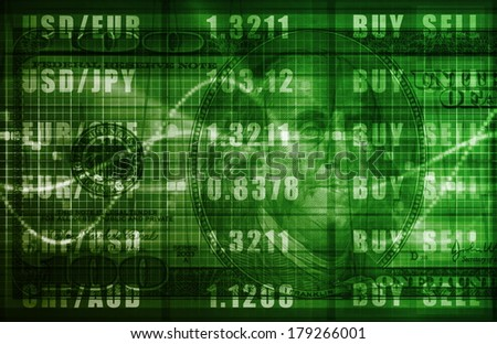 Forex Trading Online and with US Dollar Graph - stock photo