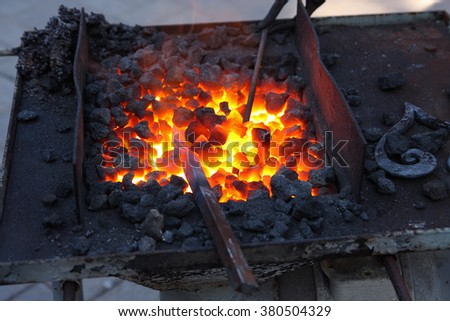 Forge, brazier with hot coals