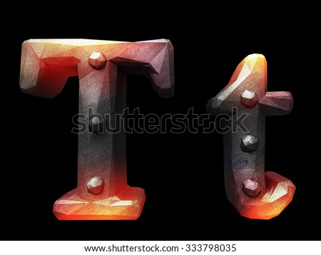Forge metal font - stock photo