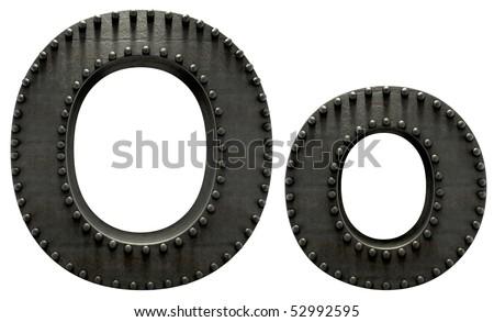 Forge metal font rivet - stock photo