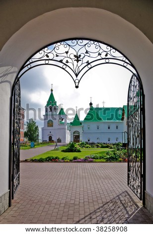 forged decorated entrance in Murom Saviour Monastery, Central Russia - stock photo