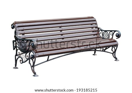 Forged decorative  Bench for park. Isolated over white background. - stock photo