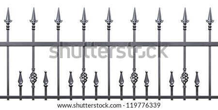Forged decorative fence isolated horizontal panorama, large panoramic silhouette, wrought iron fleur-de-lis lattice, seamless - stock photo