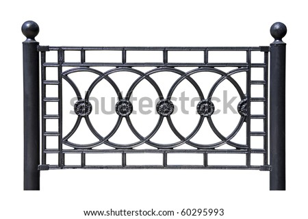 Forged decorative  fence. Isolated over white background. - stock photo