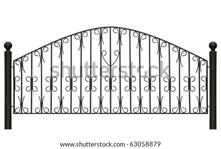 Forged decorative  fence. Isolated over white background. - stock photo