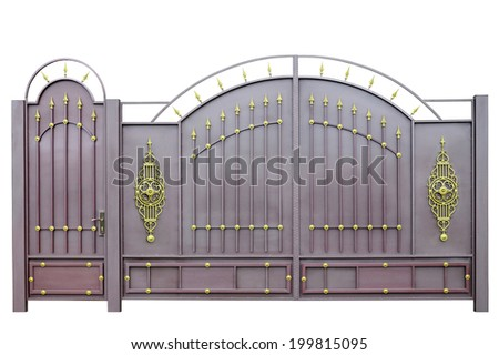 Forged  decorative  gates  decorated by ornament. Isolated over white background. - stock photo