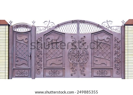 Forged  decorative  gates  for building, decorated by ornament. Isolated over white background. - stock photo