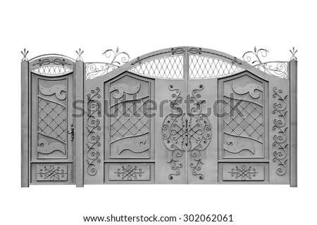 Forged  decorative  gates  for manor. Isolated over white background. - stock photo