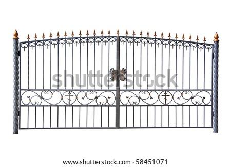 Forged decorative gates. Isolated over white background. - stock photo