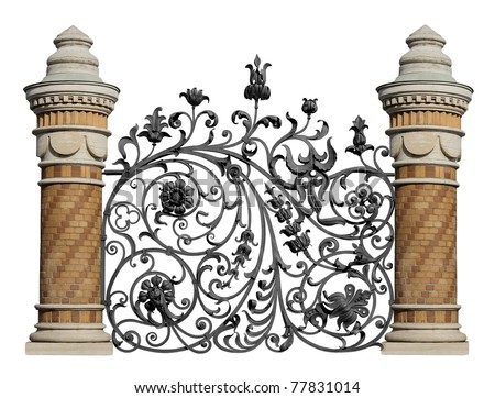 Forged decorative lattice with flowers and brick columns. - stock photo