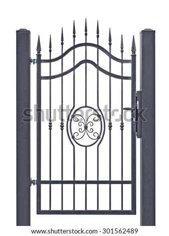 Forged decorative pedestrian gate, isolated vertical large detailed dark grey silhouette closeup, wrought iron fleur-de-lis lattice