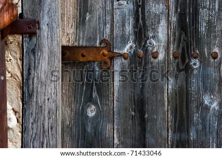 forged door hinge - stock photo