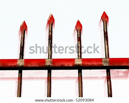 forged fence and blood isolated on white - stock photo