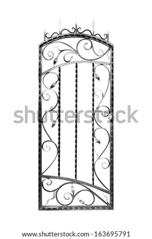 Forged gate door. Isolated on white background. - stock photo