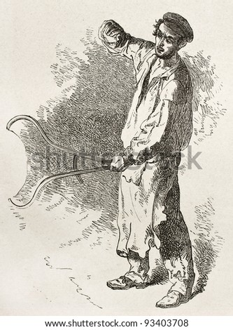 Forger old illustration. Created by Neuville after Bonhomme, published on Le Tour du Monde, Paris, 1867 - stock photo