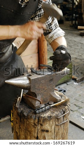 Forging a Horseshoe.   - stock photo
