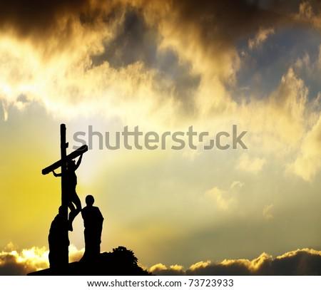 Forgiveness - Jesus hangs on cross - stock photo