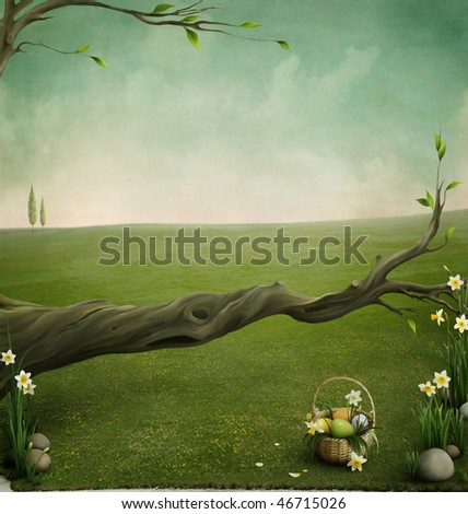Forgotten basket, background for the Easter cards - stock photo