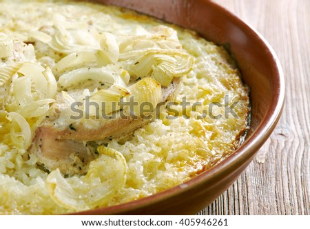 Forgotten Chicken - Casserole with chicken, rice, cream. - stock photo