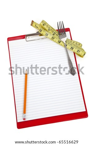 Fork and Clipboard, Concept of Dieting plan - stock photo