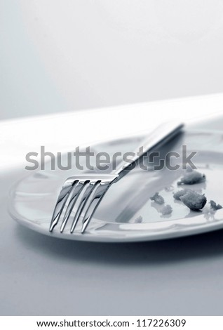 Fork and crumbs left on plate