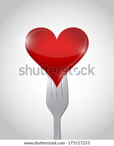 fork and heart illustration design over a white background - stock photo