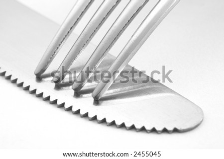 fork and knife III - stock photo