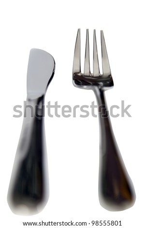 fork and knife isolated against a white background with a clipping path
