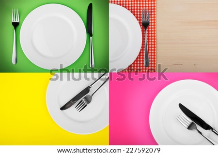 fork and knife on a plate - stock photo