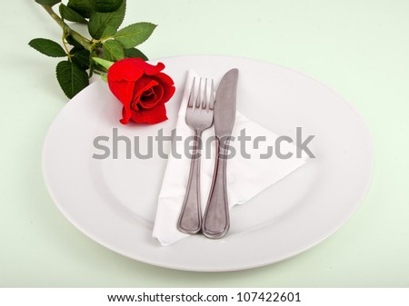 Fork and knife on a white plate decorated with a red flower