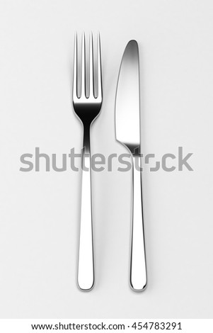 Fork and knife on grey. Photo realistic 3D illustration. Cutlery, kitchen silverware. For use in menu, restaurant printables, web site. - stock photo