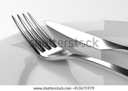 Fork and knife with plates. Serving table. Two empty plates ready for food. Photo realistic 3D illustration. Cutlery, kitchen silverware. For use in menu, restaurant printables, web site. - stock photo