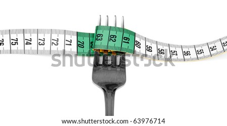 Fork and measuring tape on white background