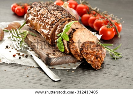 fork and roast  - stock photo