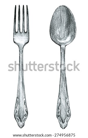 fork and spoon silverware pencil sketch - stock photo