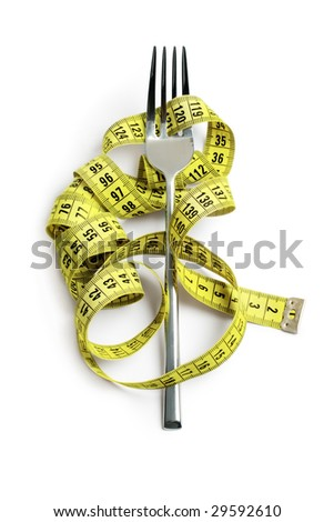 fork and yellow measuring tape. isolated on white - stock photo