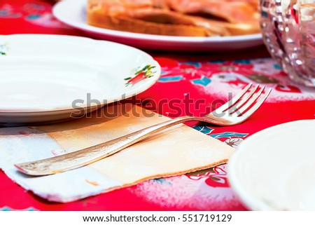 Fork beside a plate on the served table