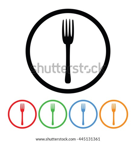 Fork Icon in Four Colors.  Raster Version