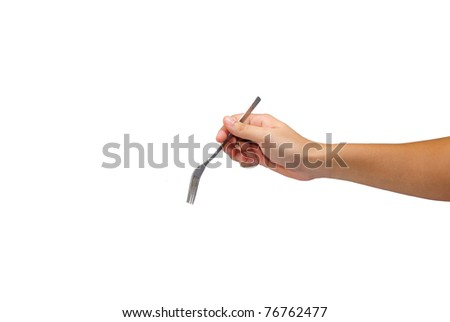 fork in hand isolated on a white background - stock photo