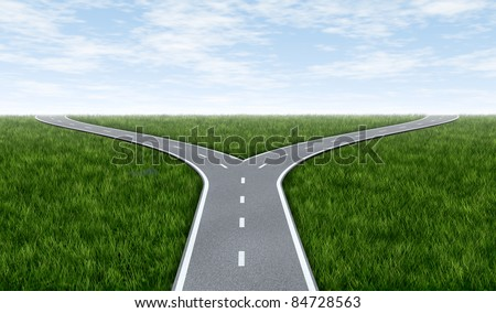 Fork in the road horizon with grass and blue sky showing a fork in the road representing the concept of a strategic dilemma choosing the right direction to go when facing two equal or similar options. - stock photo
