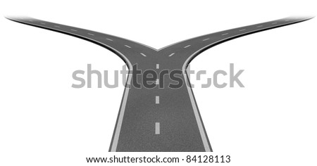 Fork in the road or highway business metaphor representing the concept of a strategic dilemma choosing the right direction to go when facing two equal or similar options. - stock photo