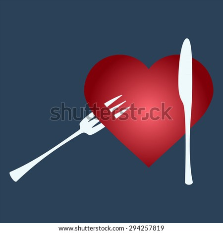 Fork into heart shapes - stock photo