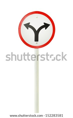 fork junction traffic sign on white background (with clipping path) - stock photo
