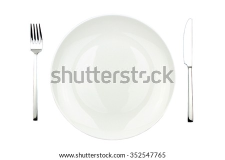 Fork, knife and plate isolated on white background - stock photo